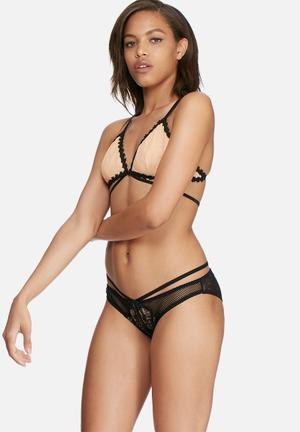 Glamorous Blush Lace Brief Panties Nude & Black