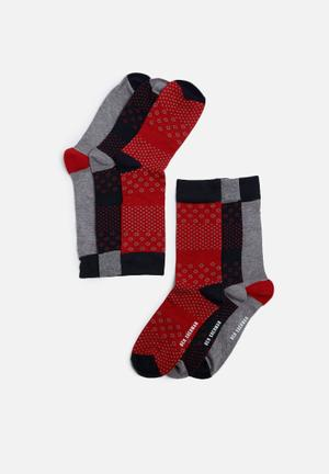 Ben Sherman 3 Pack Sock Navy, Grey & Red