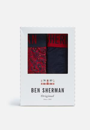 Ben Sherman 2 Pack Trunks Underwear Red & Navy