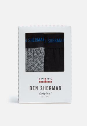 Ben Sherman 2 Pack Trunks Underwear Grey, Black & Blue