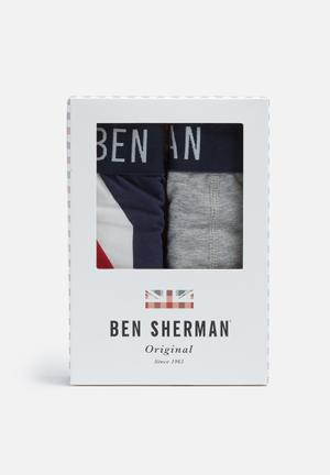Ben Sherman 2 Pack Trunks Underwear Navy, Grey, White & Red
