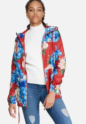Adidas Originals Chita Rose Floral Windbreaker Jackets Red & Blue
