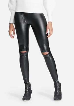 Jacqueline De Yong Laila Knee Cut Leggings Trousers Black