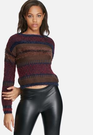 ONLY Bary Sweater Knitwear Maroon, Navy & Brown