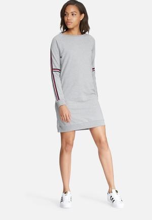 ONLY Ribbon Sweat Dress Casual Grey Melange