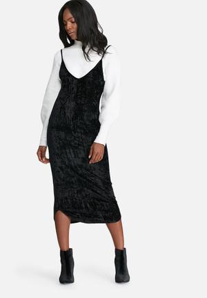 Dailyfriday Crushed Velvet V-neck Midi Slip Dress Casual Black