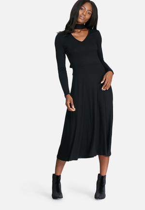 Dailyfriday Choker Fit And Flare Midi Dress Casual Black