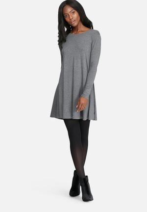 Dailyfriday Round Neck Swing Dress Casual Grey Melange