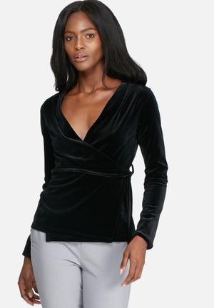 Dailyfriday Velvet Wrap Blouse Black
