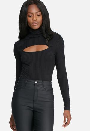 Dailyfriday Cutout Turtle Neck Top T-Shirts, Vests & Camis Black