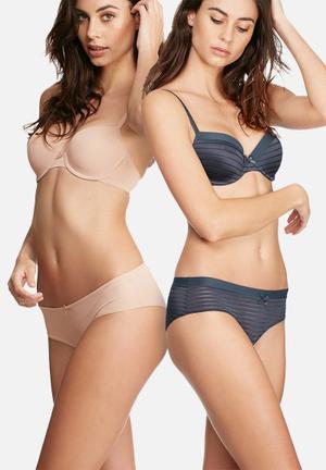 Dorina Louise 2 Pack Hipster Panties Grey & Nude