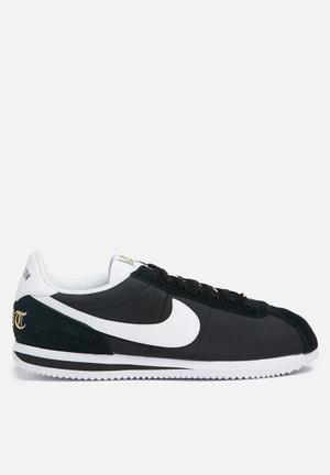 Nike Cortez Basic Nylon Premium 'Compton' Sneakers Black / White / Mtllc Gold