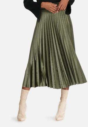 Dailyfriday Velvet Pleated Midi Skirt Olive