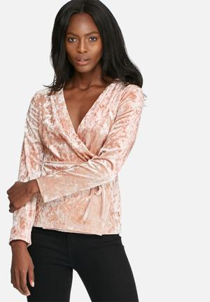 Dailyfriday Velvet Wrap Blouse Pink