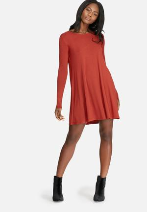 Dailyfriday Round Neck Swing Dress Casual Red