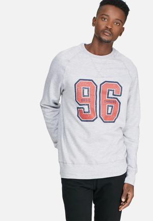 Basicthread Graphic Pullover Crew Sweat Hoodies & Sweatshirts Grey, Black & Red