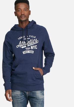Basicthread Graphic Pullover Hoodie Sweat Hoodies & Sweatshirts Navy & White