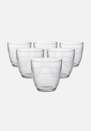 Duralex Gigogne Tumblers - 220ml Set Of 6 Drinkware & Mugs Tempered Glass, Non-porous & Hygienic
