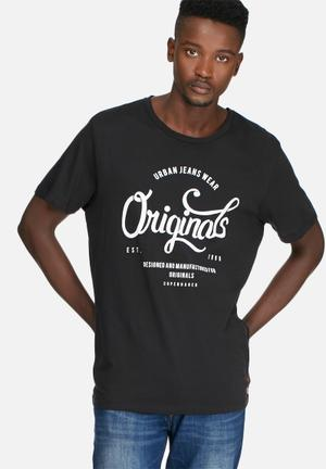 Jack & Jones Footwear And Accessories New Raffa Tee T-Shirts & Vests Black & White