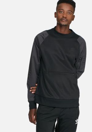 Adidas Originals St Jacquard Crew Hoodies & Sweatshirts Black