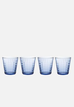 Duralex Prisme Marine Tumblers - 275ml Set Of 4 Drinkware & Mugs Glass, Non-porous & Hygienic (2.5x Stronger Than Standard Glass)