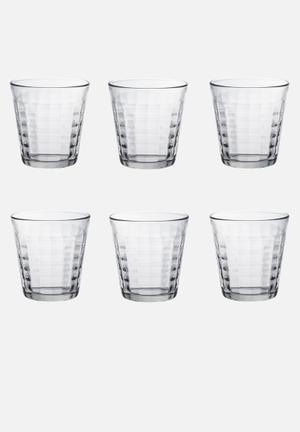 Duralex Prisme Tumblers - 275ml Set Of 6 Drinkware & Mugs Glass, Non-porous & Hygienic (2.5x Stronger Than Standard Glass)