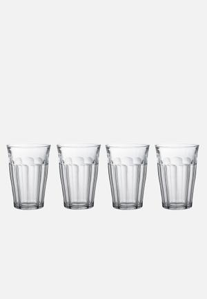 Duralex Picardie Tumblers - 360ml Set Of 4 Drinkware & Mugs  Tempered Glass (2.5 X Stronger Than Annealed Glass), Non-porous & Hygienic