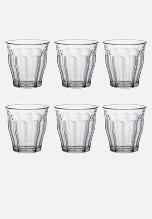 Duralex Picardie Tumblers - 250ml Set Of 6 Drinkware & Mugs  Tempered Glass (2.5 X Stronger Than Annealed Glass), Non-porous & Hygienic