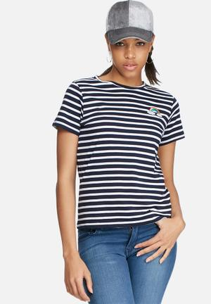 Daisy Street Stripe Rainbow Patch Tee T-Shirts, Vests & Camis Navy & White