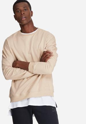 Basicthread Oversized Drop Shoulder Pullover Crew Sweat Hoodies & Sweatshirts Stone