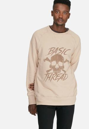 Basicthread Graphic Pullover Crew Sweat Hoodies & Sweatshirts Stone & Brown