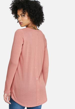 Dailyfriday Button Back Long Sleeve Knit Knitwear Pale Pink