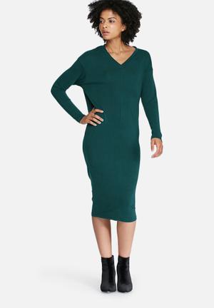 Dailyfriday Longsleeve V-neck Midi Dress Formal Green