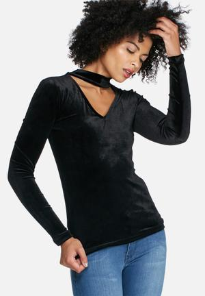 Dailyfriday Velvet L/s Choker Top T-Shirts, Vests & Camis Black