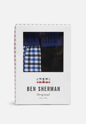 Ben Sherman 2 Pack Trunks Underwear Blue & Black
