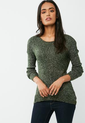 Vero Moda Jive High Low Knit Knitwear Green, Black & White