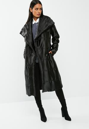 Dailyfriday Longer Length Belted Padded Coat Black