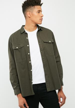 Basicthread Loose Fit Military-inspired Shirt Green