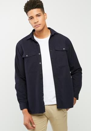 Basicthread Loose Fit Military-inspired Shirt Navy