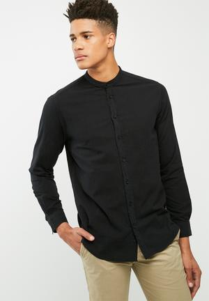 Basicthread Manderin Regular Fit Shirt Black