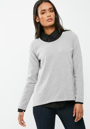 Dailyfriday Button Back Long Sleeve Knit Knitwear Grey Melange