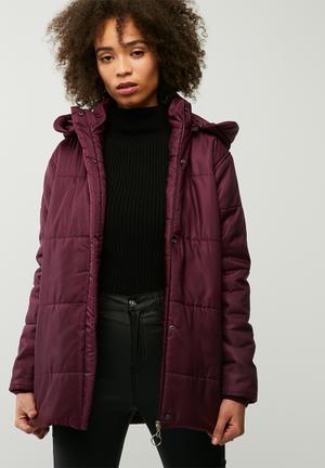 Dailyfriday Hooded Padded Jacket Burgundy
