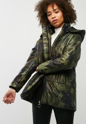 Dailyfriday Hooded Padded Jacket Green Camo