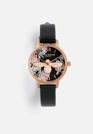 Olivia Burton Animal Motif Watches Black & Rose Gold