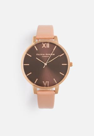 Olivia Burton Big Dial Watches Brown, Dusty Pink & Rose Gold