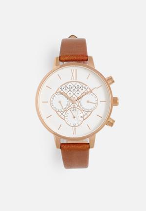 Olivia Burton Big Dial Chrono Detail Watches Tan & Rose Gold