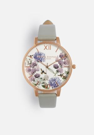 Olivia Burton Parlour Watches Grey & Rose Gold