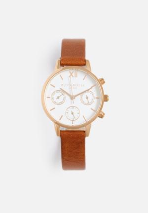 Olivia Burton Midi Dial Chrono Watches White, Tan & Rose Gold