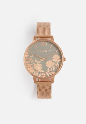 Olivia Burton Lace Detail Watches Grey & Rose Gold