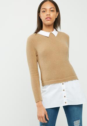 Dailyfriday Jersey Shirt Camel & White